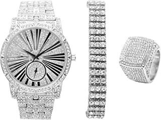 Bling-ed Out 3 Row Tennis Men's Bracelet with Hip Hop Roman Numeral Dial Silver Watch and Bling Ring - L0503S3RT3Set