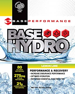 BASE Performance Hydro - Lemon Lime | 28 servings within each eco-friendly mylar bag | Blend of dextrose, fructose, maltodextrin and essential electrolytes.