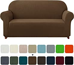 Subrtex 1-Piece Plaid Jacquard Stretch Couch Slipcovers, Loveseat, Coffee
