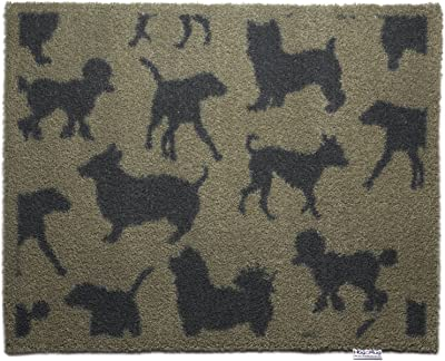 """Bosmere Hug Rug Eco-Friendly Absorbent Dirt Trapping Indoor Washable Mat, 25.5"""" x 33.5"""", Beige with Charcoal Dogs"""