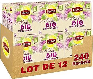 Lipton Thé Noir Bio Ceylan & Bergamote, Label Rainforest Alliance 240 Sachets (Lot de 12x20 Sachets)
