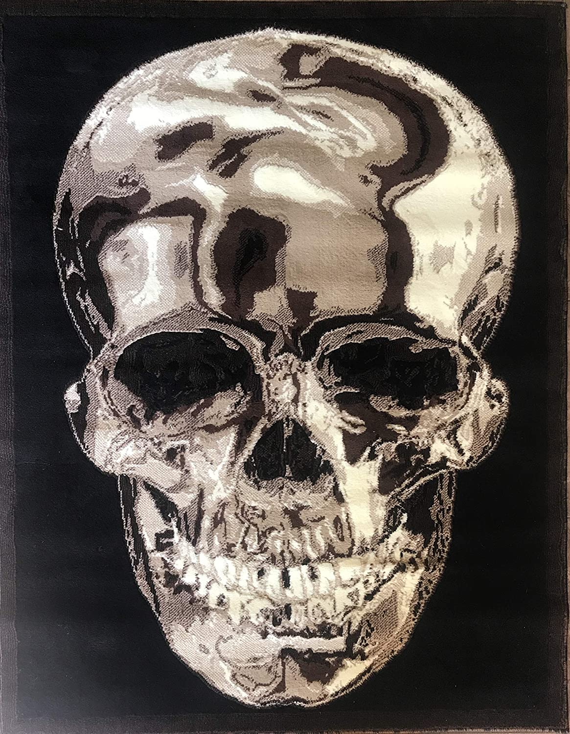Skull Area Rug Brown Black Our shop most popular Americana Design F X Cheap mail order shopping 134 10 Feet 8