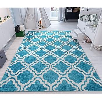 Modern Rug Calipso Blue 5'X7' Lattice Trellis Accent Area Rug Entry Way Bright Kids Room Kitchn Bedroom Carpet Bathroom Soft Durable Area Rug