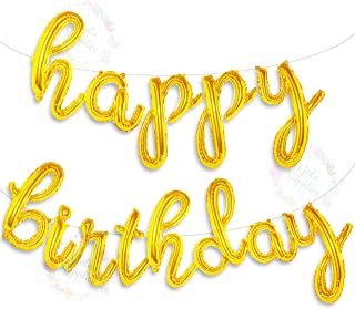 Happy Birthday Balloons Banner | Script/Cursive Gold Letter Balloon Sign for Birthday Party Decor/Decoration | Foil Mylar Happy Birthday Banner (Gold)
