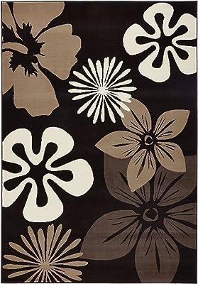 Hanse Home Design Terciopelo Alfombra Pelo Corto Flora, Polipropileno, marrón, 80x 150x 0.9cm