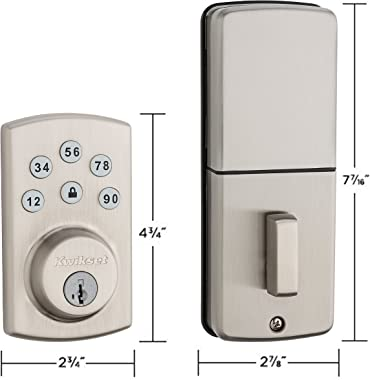 Kwikset 99070-101 Powerbolt 2 Door Lock Single Cylinder Electronic Keyless Entry Deadbolt Featuring SmartKey Security in Sati