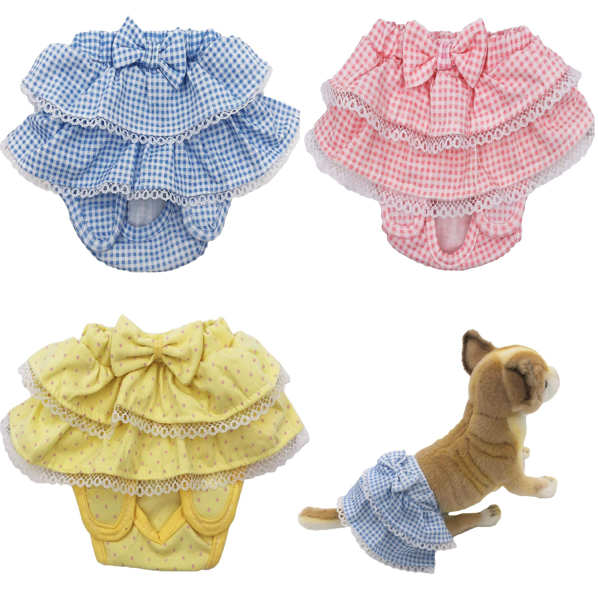 Female Dog Diaper Skirt  Perfect for your dog in Season and House Training Brown PInk Flowers Pink Dots