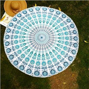 raajsee White Blue Round Beach Tapestry Hippie/Boho Mandala Blanket/Indian Cotton Throw Bohemian Round Table Cloth/Hippie Decor Yoga Mat Meditation Picnic Rugs 70 inch Circle