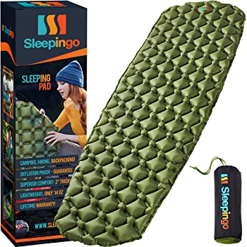 Sleepingo Camping Sleeping Pad - Mat (Large) Ultralight 14.5 OZ Best Sleeping Pads Backpacking Hiking Air Mattress - Lightweight Inflatable & Compact Camp Sleep Pad
