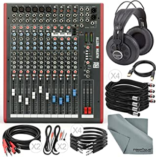 Allen & Heath ZED14 14-Channel Recording Live Sound Mixer with USB Interface and Deluxe Bundle w/Semi-Open Studio Reference Headphones,13x Cables, Fibertique