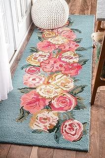 nuLOOM Bouquet Farmhouse Rose Wool Runner Rug, 2' 6