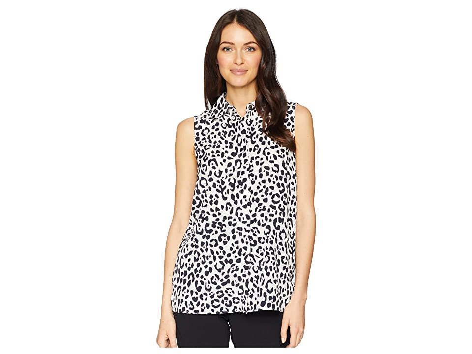Ellen Tracy Sleeveless Boyfriend Shirt (Bali Leopard/Wisteria) Women