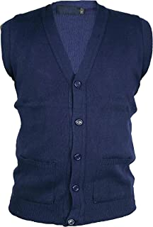Global Attire Mens Classic Sleeveless Button Cardigan Plain with Two Front Pockets