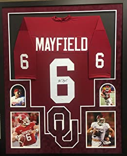 Baker Mayfield Oklahoma Sooners Autograph Signed Custom Framed Jersey Suede Matted 4 Picture JSA Witnessed Certified