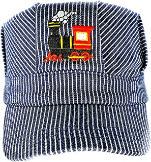 Pinnacle Awards Canada Young Boys Choo Choo Train Embroidered Steam Engine Train Engineer Hat with I Love Trains