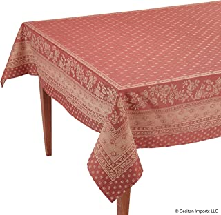 Occitan Imports Durance Red Jacquard Rectangular French Tablecloth, 63 x 98 (6-8 People)