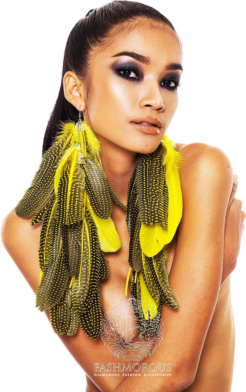 FASHMOROUS Long Feather Earrings Bohemian Yellow Blossom Dangle
