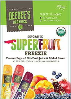 DeeBee's 100% Organics Super Fruit Freezie Frozen Juice Bars - Grape, Strawberry and Tropical Fruit Popsicles - Nut, Glute...