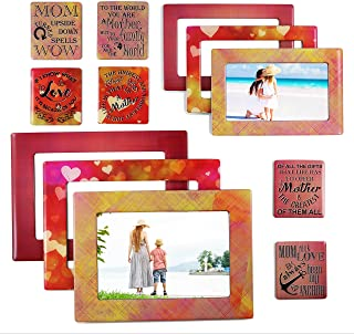 Mom - Magnetic Picture Frames and Refrigerator Magnets with Inspirational Quotes (12 Piece) Photo Collage - Mom Gift - Gift for Mother - Birthday Gift for Mom - Baby Shower