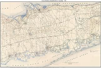 Smithtown & Brookhaven 1904 Map USGS Topo Long Island, New York - Custom Composite Large Area Reprint
