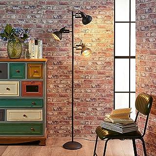 LED Lampadaire 'Lilly' (Modern, Industriel) en Noir en Métal e. a. pour Salon & Salle à manger (à 3 lampes, E14) | Lampada...
