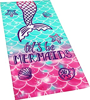 Softerry Mermaid Princess Beach Towel 30 x 60 inch Velour 100% Cotton, Pink and Green