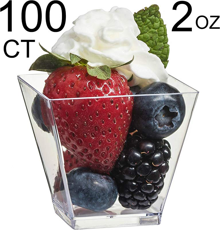 Zappy 100 Ct Elegant Square Mini Cube 2oz Clear Tasting Sample Shot Glasses 100 Ct Dessert Cups Disposable Plastic
