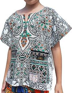 قميص بأكمام قصيرة مطبوع عليه RaanPahMuang من قفطان Boubou Africa للأطفال من الجنسين
