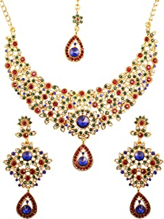 Touchstone Hollywood Glamour White Red Green Blue Colors Crystals Grand Designer Wedding Jewelry Hasli Necklace Set For Wo...