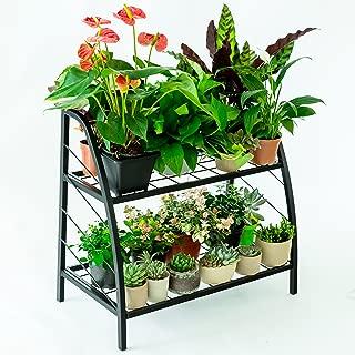 C-Hopetree Tiered Indoor Outdoor Plant Stand, Plant Rack Shelf Holder, Patio or Garage Storage Rack, Shoe Organizer, Black Metal Frame, 2-Tier