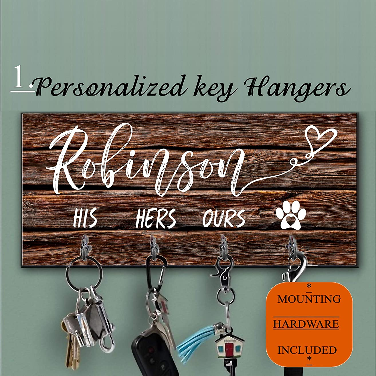 Personalized key holder and Dog Leash hanger for wall, Dog lovers Key Hanger,Personalized Key Ring Holder, Custom Key Holder For Wall, Personalized Key Hanger, Housewarming Gift, Leash Holder