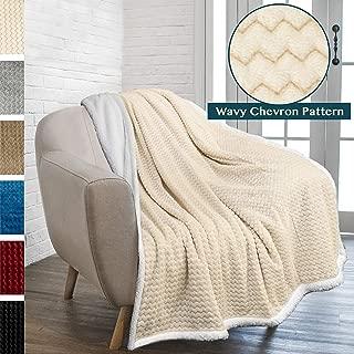 PAVILIA Premium Chevron Sherpa Throw Blanket   Soft Reversible Beige Fleece Blanket Throw   Plush, Fuzzy Throw for Couch Sofa, Lap TV Blanket  Lightweight Microfiber, 50x60 Inches