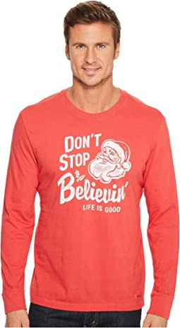 Life is Good - Don't Stop Believin' Santa Long Sleeve Crusher Tee
