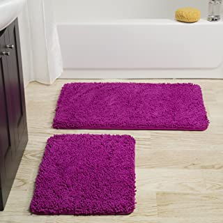 Lavish Home 2 Piece Memory Foam Shag Bath Mat – Pink