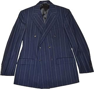 Polo RRL Double Breasted Peak Blazer Wool Pinstripe Navy Italy 42