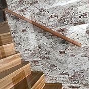 madera de haya, 45 mm, redondo, 120 cm de longitud, con 2 soportes de acero Pasamanos