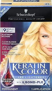 Schwarzkopf Keratin Color Care Lighteners Permanent Hair Color Cream, Platinum Blonde (Pack of 12)