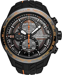 Graham Silverstone RS Endurance Automatic Mens Watch - 48mm Smoked Black Dial with Luminous Hands, Date, Tachymeter and 12 Hour Chronograph - Black Rubber Strap Swiss Made Luxury Watch 2STCB.B04A