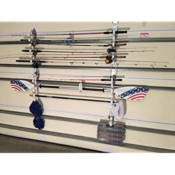 Amazon Com Garage Storage Rack For Garage Doors With Hooks For Fishing Rods Kayak Paddles And Light Garden Tools Home Improvement