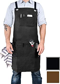 Armor Gear Durable Work Aprons for Men or Women 16oz Waxed Canvas Apron with 7 Pockets,..