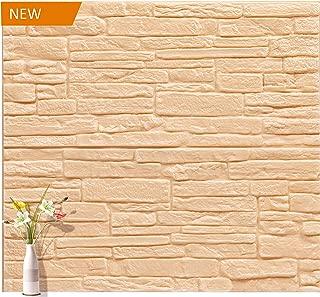 3D Wallpaper Wood Wall Panels Rustic Brick Effect Foam PE Foam Peel and Stick Stacked Stone Tiles 10 Packs (27.56'' L x 23.62'' W)
