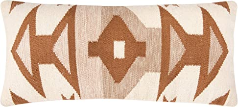 Creative Co-Op Handwoven Brown & Cream Patterned Cotton Kilim Lumber Pillows, Brown