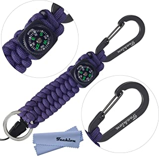 Techion Paracord Survival Keychain Compass,  [60-inch Disassembled Length] 7-inch Braided Strong Paracord Keychain Key Ring,  Compass,  Carabiner Quick Release Clip