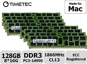 Timetec Compatible for Apple 128GB KIT(8x16GB) DDR3 1866MHz PC3-14900 Registered ECC RDIMM Server Memory RAM Module Upgrade for Mac Pro Late 2013 A1481 MQGG2LL/A MD878LL/A ME253LL/A(128GB KIT(8x16GB))