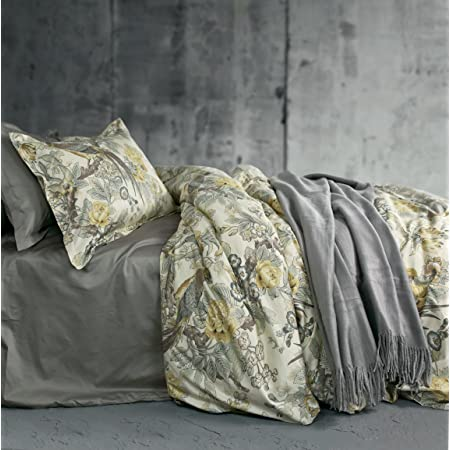 Eikei Chinoiserie Chic Peacock Floral Duvet Cover Paradise Garden Botanical Bird and Tree Branches Vintage Stylized Long Staple Cotton 3pc Bedding Set (Queen, Yellow)