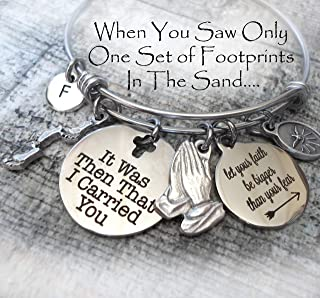 It Was Then That I Carried You Bangle Bracelet, Footprints In The Sand, Christian Faith Inspired Jewelry, Bible Study, Scripture, 3 Sizes Small to Large
