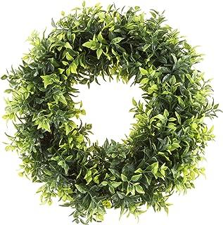 Pure Garden 50-151 Artificial Opal Basil Leaf 11.5 inch Round Wreath