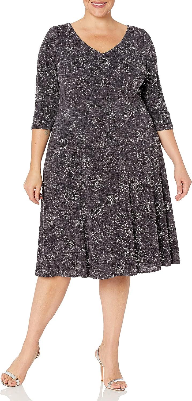Alex Evenings Women's Plus Size Short Jacquard Knit Dress