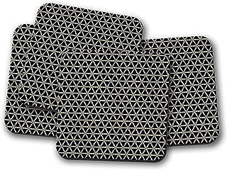 Posavasos negros con diseño geométrico triangular blanco y dorado, posavasos individuales o juego de 4