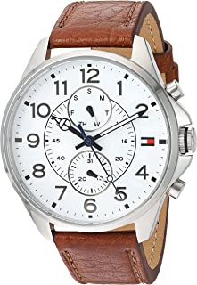 Tommy Hilfiger Men's Quartz Stainless Steel and Leather Watch, Color:Brown (Model: 1791274)